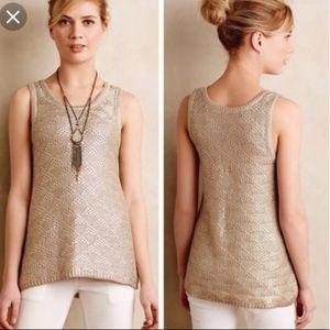 Moth Anthropologie Sana Metallic Knit Sweater Tank